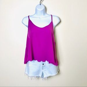 Tobi | Open Back Scalloped Tank Top | M